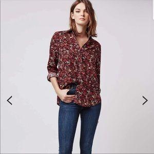 TOPSHOP Red & Black Floral Button Down Shirt